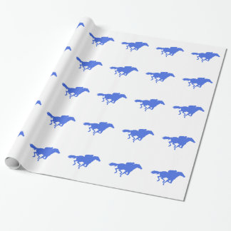 Royal Blue Horse Racing Wrapping Paper