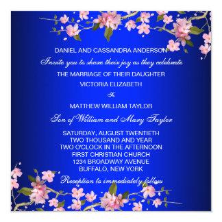 Royal Blue Japanese Cherry Blossoms Wedding Card