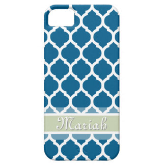 Royal Blue & Light Mint Lattice Custom Name Case For The iPhone 5