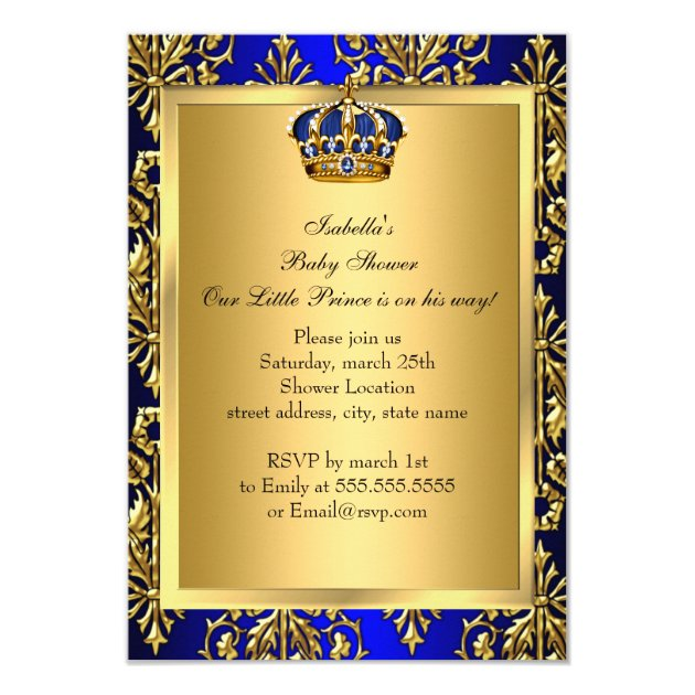 royal blue little prince crown baby shower invite | zazzle, Baby shower invitations