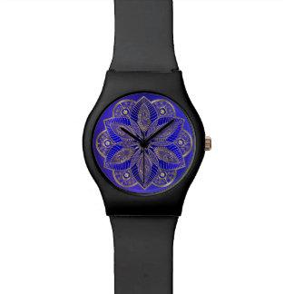 Royal Blue Mandala Lotus Flower Wrist Watch