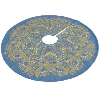 Royal Blue Mandala Star Pattern Fleece Tree Skirt