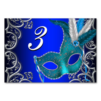 Royal Blue Masquerade Party Card