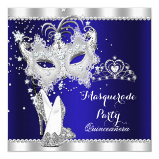"Royal Blue Masquerade Quinceanera Mask Hi Heels 5.25"" Square Invitation Card"
