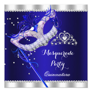 Royal Blue Masquerade Quinceanera Party Mask Gems Card