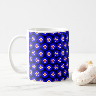 Royal Blue Morning Glory Flower Pattern Coffee Mug