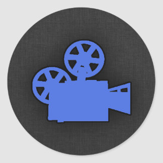 Royal Blue Movie Camera Round Sticker