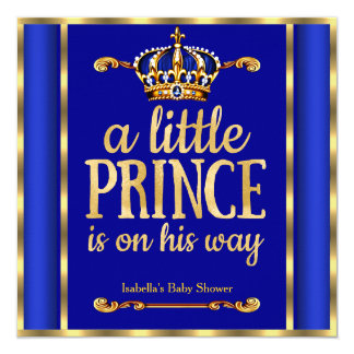 "Royal Blue Navy Gold Prince on his way Baby Shower 5.25"" Square Invitation Card"