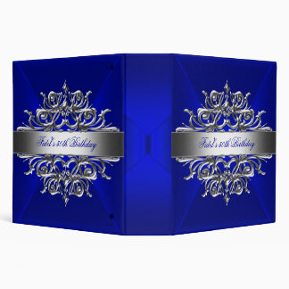 Royal Blue On Silver 50th Birthday Party Vinyl Binder