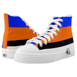 Royal Blue Orange Black and White Hi-Tops
