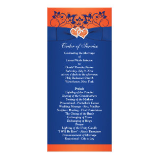 Royal Blue, Orange Floral, Hearts Wedding Program