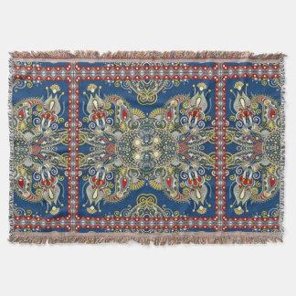 Royal Blue Oriental Design Throw Blanket