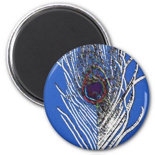 Royal Blue Peacock Feather Magnet