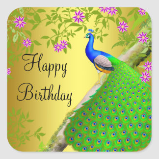 Royal Blue Peacock Happy Birthday Sticker