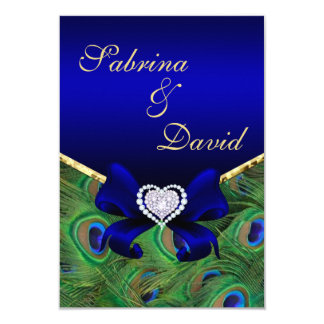 "Royal Blue Peacock Reception card 3.5"" X 5"" Invitation Card"