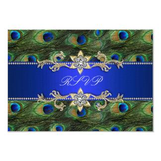 Royal Blue Peacock RSVP Card