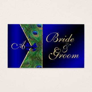 Royal Blue Peacock Wedding Bridal Business Card