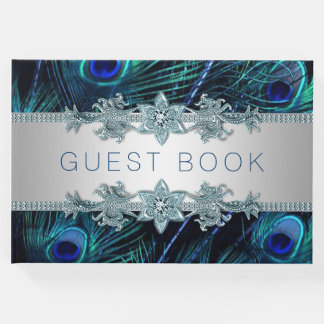 Royal Blue Peacock Wedding Guest Book