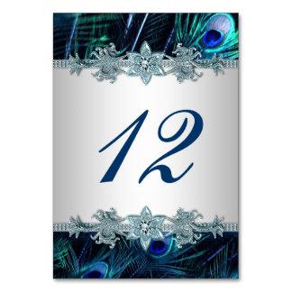 Royal Blue Peacock Wedding Table Card