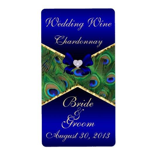 Royal Blue Peacock  Wedding Wine Label