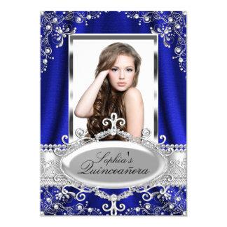 "Royal Blue Pearl Silk Vintage Glamour Quinceanera 5"" X 7"" Invitation Card"