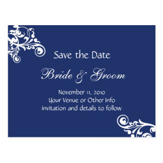 Royal Blue Personalized Flourish Save the Date Postcard