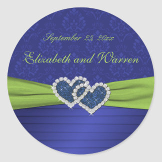 Royal Blue Pleats and Chartreuse Round Sticker