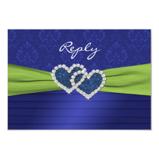 Royal Blue Pleats and Lime Reply Card - small