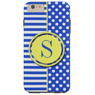 Royal Blue Polka Dots And Stripes by STaylor Tough iPhone 6 Plus Case