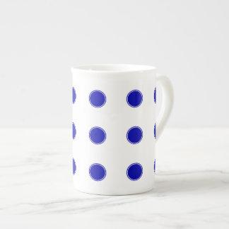 Royal Blue Polka Dots on White Tea Cup