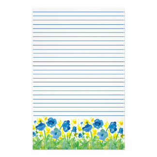 Royal Blue Poppy Watercolor Flowers Lined Stationery Paper