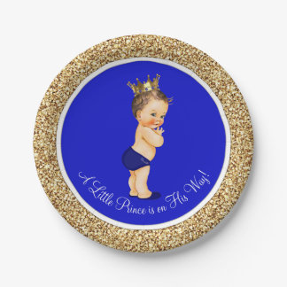 Royal Blue Prince Baby Shower 7 Inch Paper Plate