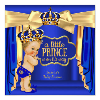 """Royal Blue Prince Baby Shower Gold Crown Blonde 5.25"""" Square Invitation Card"""