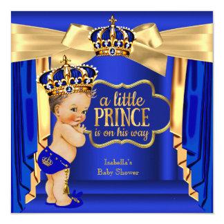 "Royal Blue Prince Baby Shower Gold Crown Brunette 5.25"" Square Invitation Card"