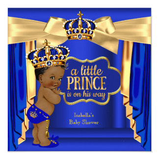 """Royal Blue Prince Baby Shower Gold Crown Ethnic 5.25"""" Square Invitation Card"""