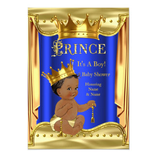 "Royal Blue Prince Baby Shower Gold Ethnic 5"" X 7"" Invitation Card"