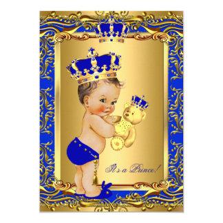 Royal Blue Prince Crown Baby Shower Bear Brunette Card
