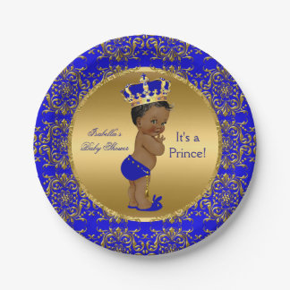 Royal Blue Prince Crown Baby Shower Ethnic 7 Inch Paper Plate