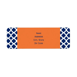 Royal Blue Quatrefoil Pattern with Orange