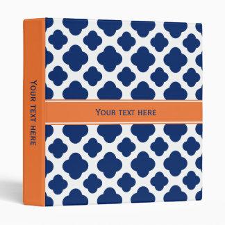Royal Blue Quatrefoil Pattern with Orange Binder