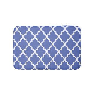 Royal Blue Quatrefoil Tiles Pattern Bath Mat