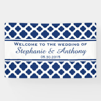 Royal Blue Quatrefoil  Wedding Welcome Banner