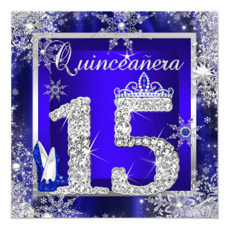 "Royal Blue Quinceanera 15th Elite Elegant Birthday 5.25"" Square Invitation Card"