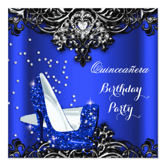 "Royal Blue Quinceanera Hi Heels 15th Birthday 2 5.25"" Square Invitation Card"