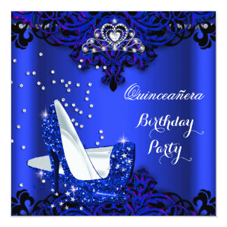 "Royal Blue Quinceanera Hi Heels 15th Birthday 5.25"" Square Invitation Card"