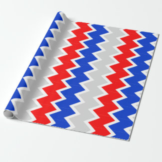 Royal blue, red and gray chevron Wrapping paper