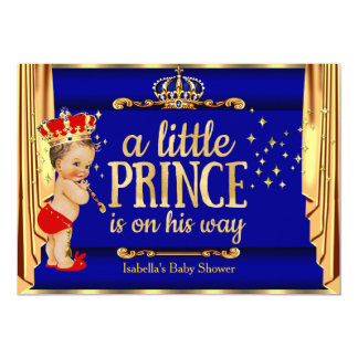 """Royal Blue Red Drapes Prince Baby Shower 5"""" X 7"""" Invitation Card"""