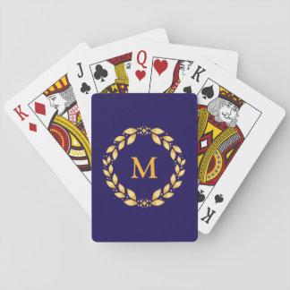 Royal Blue Roman Wreath Monogram Playing Cards