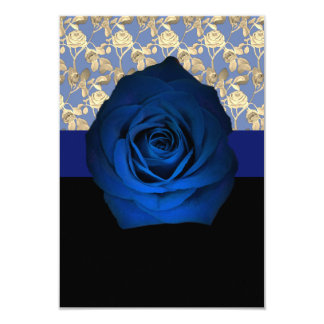 Royal Blue Rose accented with Gold Rose Vine on a Card