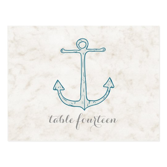 Royal Blue Rustic Anchor Table Number Postcard